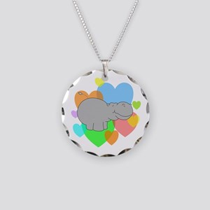 Hippo Hearts Necklace Circle Charm