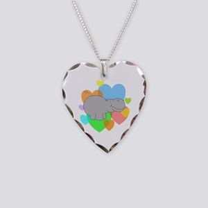 Hippo Hearts Necklace Heart Charm