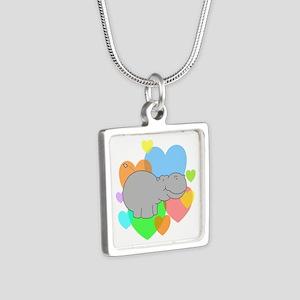 Hippo Hearts Silver Square Necklace