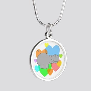 Hippo Hearts Silver Round Necklace