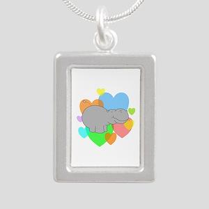 Hippo Hearts Silver Portrait Necklace