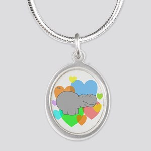 Hippo Hearts Silver Oval Necklace