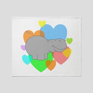 Hippo Hearts Throw Blanket