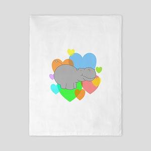 Hippo Hearts Twin Duvet