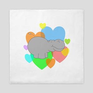 Hippo Hearts Queen Duvet