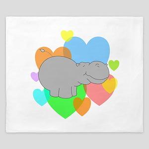 Hippo Hearts King Duvet