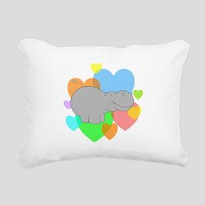 Hippo Hearts Rectangular Canvas Pillow