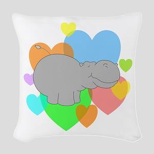 Hippo Hearts Woven Throw Pillow