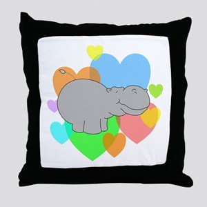 Hippo Hearts Throw Pillow