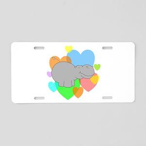 Hippo Hearts Aluminum License Plate
