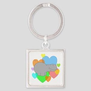 Hippo Hearts Square Keychain