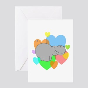 Hippo Hearts Greeting Card