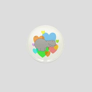 Hippo Hearts Mini Button