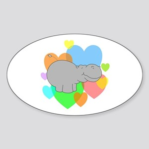 Hippo Hearts Sticker (Oval)
