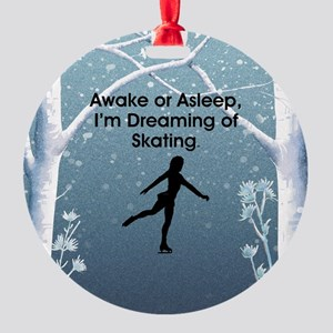 Dreaming of Skating Round Ornament