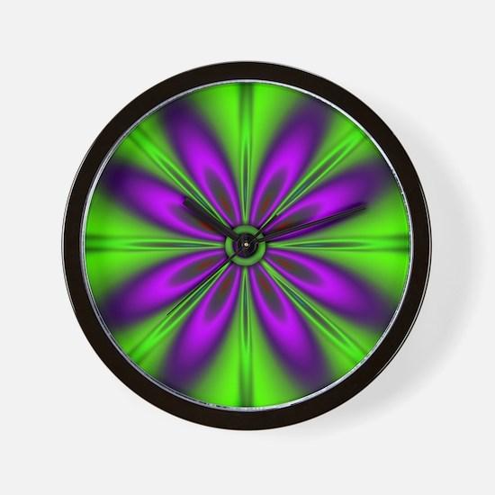 Purple  Green Flower Wall Clock