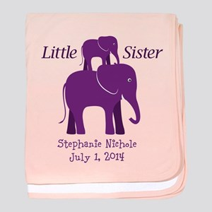 Little Sister Elephants Baby Blanket