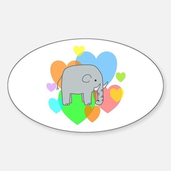 Elephant Hearts Sticker (Oval)