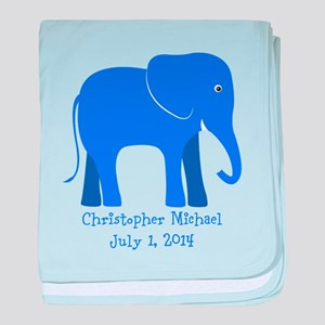 Elephant (blue) Baby Blanket