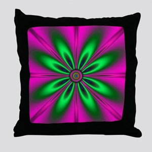 Green Flower on Pink Throw Pillow