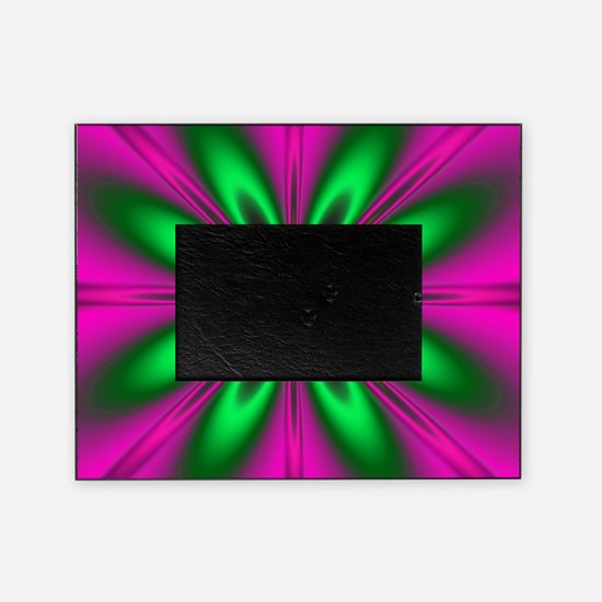 Green Flower on Pink Picture Frame