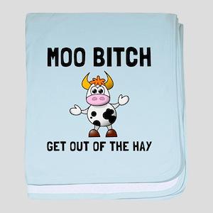 Moo Bitch baby blanket