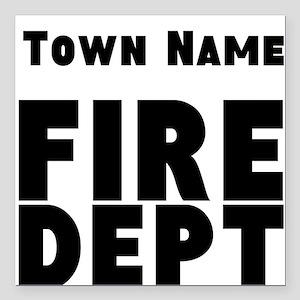 "Fire Department Square Car Magnet 3"" x 3"""