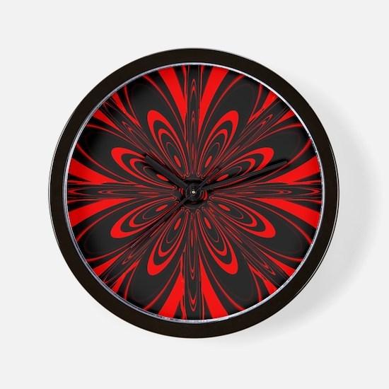 Red Flower Black Wall Clock