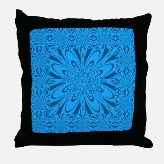 Blue Pattern Flower Throw Pillow
