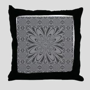 Gray Flower Throw Pillow
