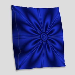 Blue Flower Dark Burlap Throw Pillow