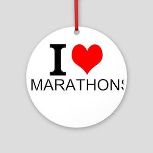 I Love Marathons Ornament (Round)