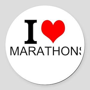 I Love Marathons Round Car Magnet