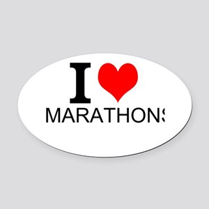 I Love Marathons Oval Car Magnet