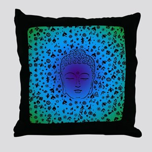 Buddha Blue Throw Pillow