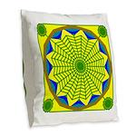 Window Flower 00 Burlap Throw Pillow