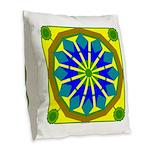 Window Flower 07 Burlap Throw Pillow