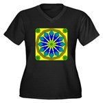 Window Flowe Women's Plus Size V-Neck Dark T-Shirt