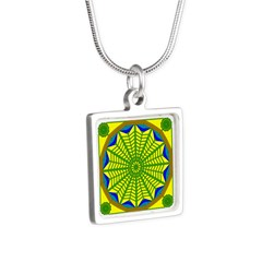 Window Flower 06 Silver Square Necklace