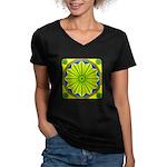 Window Flower 06 Women's V-Neck Dark T-Shirt