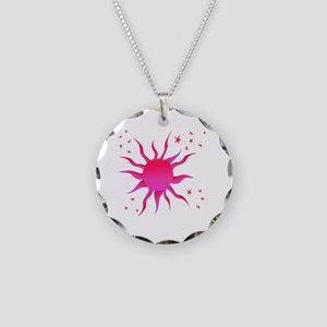 Sun Stars Pink Necklace Circle Charm