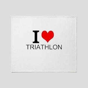 I Love Triathlons Throw Blanket