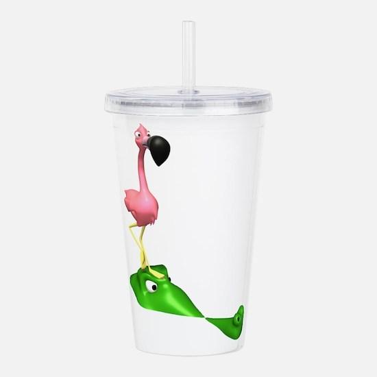 Flamingo and Gator.png Acrylic Double-wall Tumbler