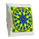 Window Flower 04 Burlap Throw Pillow