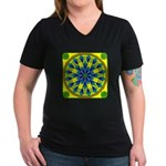Window Flower 04 Women's V-Neck Dark T-Shirt