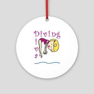 Diving Diva Ornament (Round)