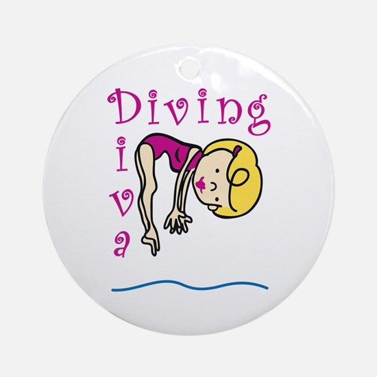 Diving Diva Ornament (Round)