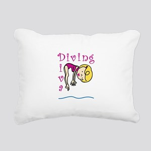Diving Diva Rectangular Canvas Pillow