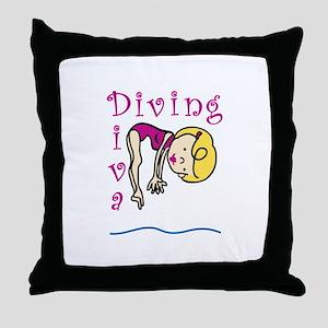 Diving Diva Throw Pillow
