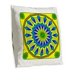 Window Flower 03 Burlap Throw Pillow